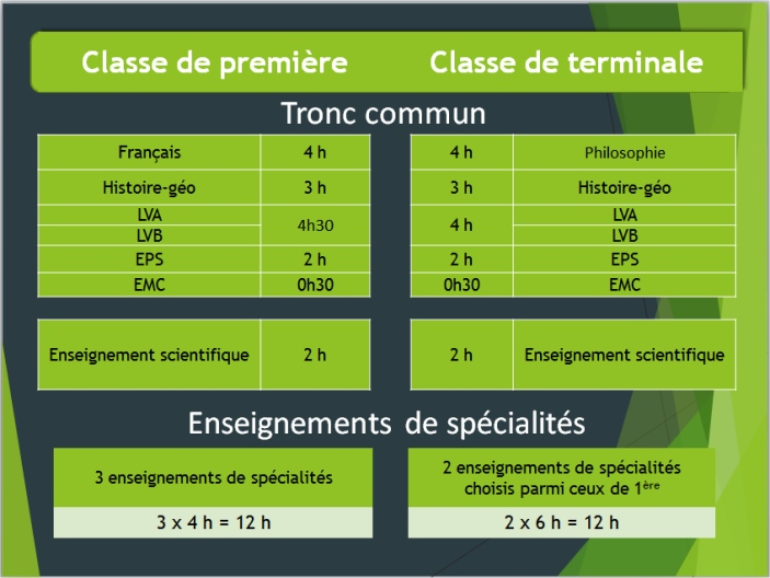 horaire du cycle terminal